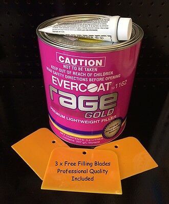 RAGE EVERCOAT GOLD PREMIUM RAGE BODY FILLER INCLUDES HARDENER