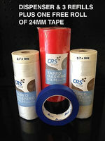 3 x ROLLS PAINTING MASKING FILM DISPENSER TAPE PLASTIC DROP SHEET 2.7 X 18M