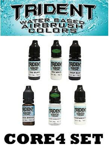 6 pcs DNA TRIDENT AIRBRUSH PAINT WATER BASED 10ml X 6 CORE 4 AUTO CANVAS DIY