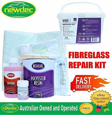 FIBREGLASS KIT FOR AUTOMOTIVE MARINE BOATS PANEL BODY REPAIR MAT RESIN DIY 1LT