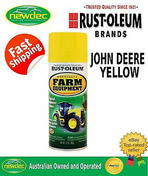 RUST-OLEUM JOHN DEERE YELLOW FARM EQUIPMENT SPRAY PAINT HEAVY ENAMEL TRACTOR NEW