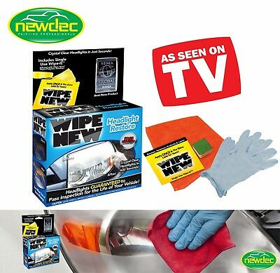 WIPE NEW HEADLIGHT RESTORATION KIT WIPE 2 RESTORE HEADLIGHTS X CAR CLEANING UV