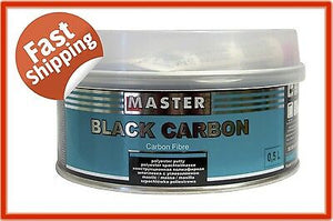 MASTER BLACK CARBON FILLER 500ML POLYESTER PUTTY HARDENER INCLUDED DENT PANEL