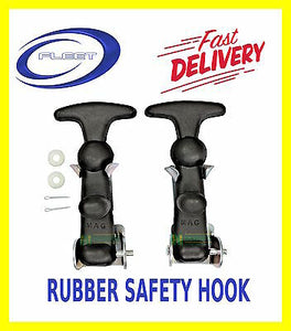RUBBER BONNET HOOKS PAIR STRAPS CATCH RACE PROTECTOR SAFETY BOOT KIT CAR LARGE