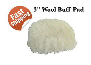 "WOOL BUFF PAD 3"" VEL CRO 76MM POLISH FINISHING DETAIL AUTO SPRAY SUPPLIES"