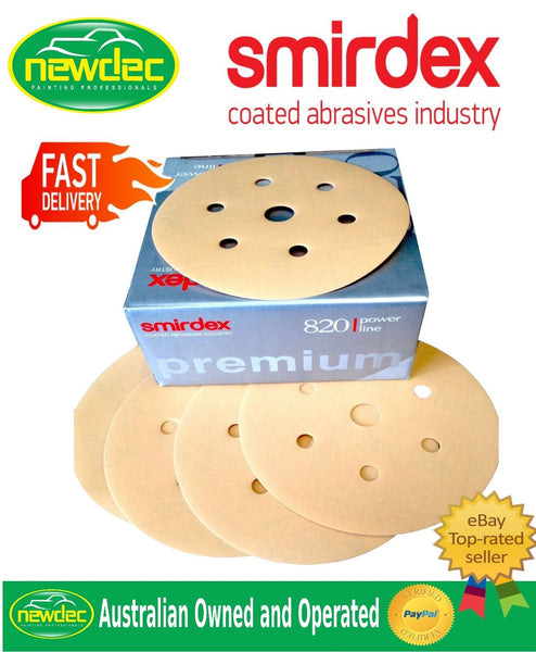 "Box 100pcs SANDING DISCS 800 GRIT SMIRDEX 150MM (6"") 7 HOLE SANDPAPER"