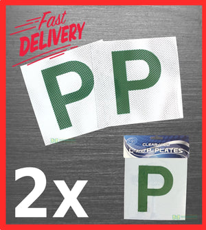 "2 x GREEN ""P"" PLATES PROBATIONARY DRIVER DECAL PAIR CAR AUTO DRIFT NEW"