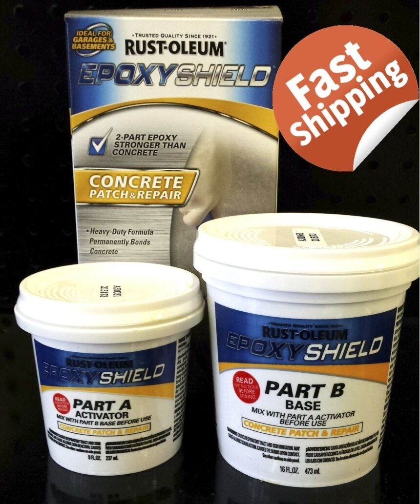 RUST-OLEUM EPOXY SHIELD CONCRETE PATCH AND REPAIR MASONRY CRACK HOLE FLOOR WALLS