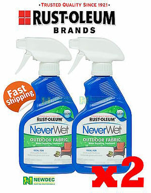 NEVERWET NEVER WET RUST-OLEUM 2 x OUTDOOR WATERPROOF FABRIC CLEAR COATING
