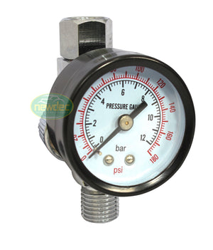 SPRAY GUN AIR REGULATOR PSI BAR GAUGE SUITS SATA IWATA DEVILBISS STAR 180PS