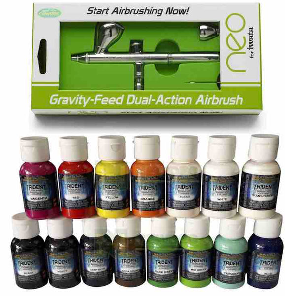 NEO FOR IWATA CN 0 35MM DUAL ACTION GRAVITY FEED AIRBRUSH PLUS YOUR CHOICE OF TWO AIRBRUSH PAINTS