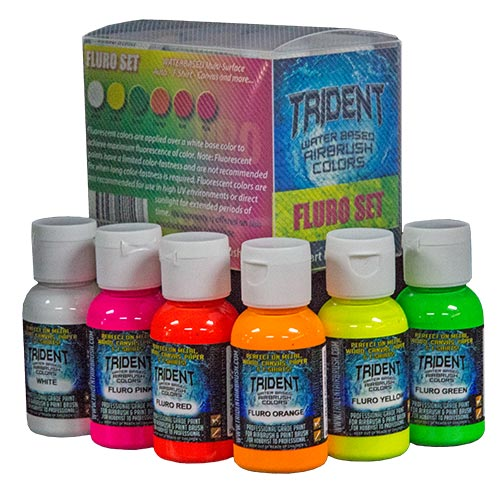 FLURO AIRBRUSH PAINT 6 PCS TRIDENT 50ML SET
