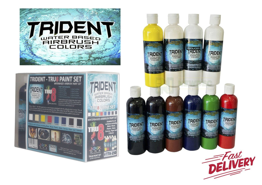 TRIDENT TRU 8 SET 250ML 10pcs DNA TRIDENT AIRBRUSH PAINT WATER BASED