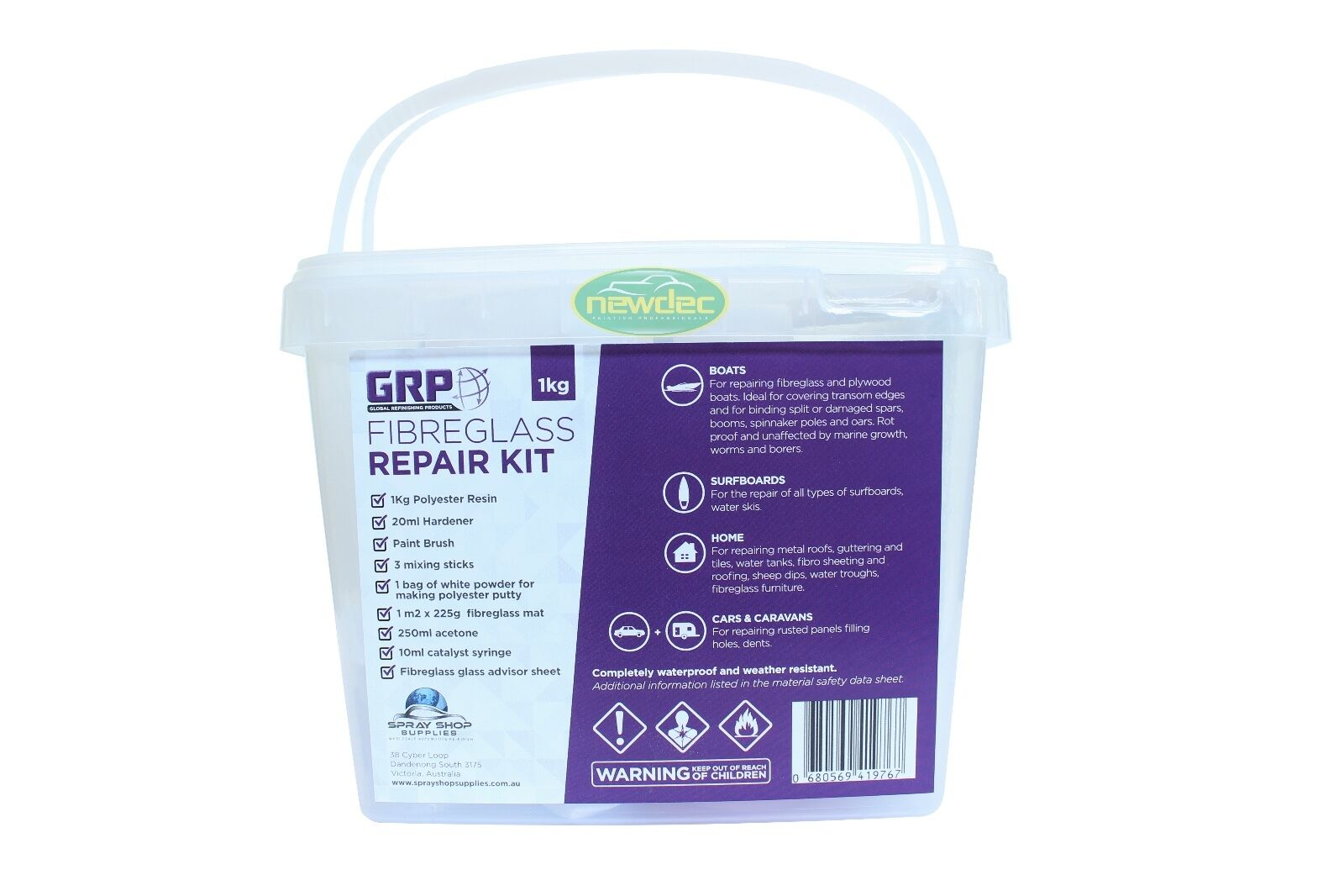 POLYESTER RESIN KIT FOR FIBREGLASS 1 kg (inc. Hardener) - AUTOMOTIVE MARINE