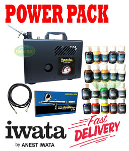 NEW IWATA IS925 PACK POWER JET LITE COMPRESSOR POWER SPRAY ART PRESSURE PSI