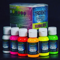 6 PCS TRIDENT AIRBRUSH PAINTS 50ML X 6 FLURO SET AUTO COLOURS CANVAS FABRIC