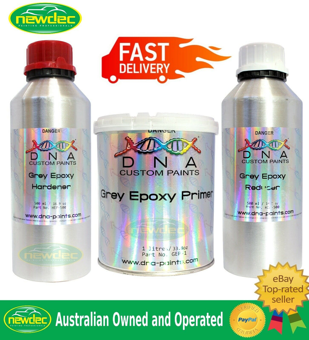DNA GREY EPOXY PRIMER 1L KIT HIGH SOLID GRAY HARDENER REDUCER AUTO PRIMING PAINT