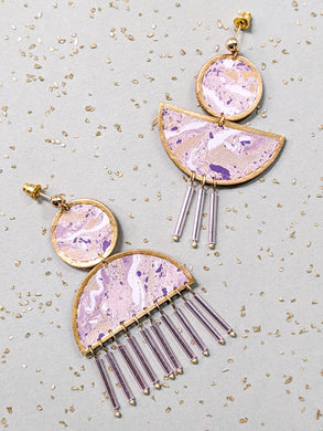 Marbling marmore earrings in purple colour