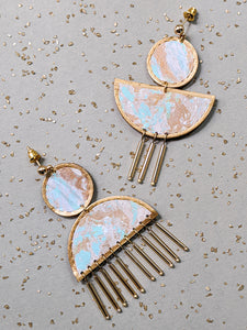 Marbling marmore earrings in turquoise colour