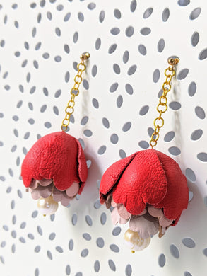 Red peonies leather flower earrings with fresh water pearl dangle