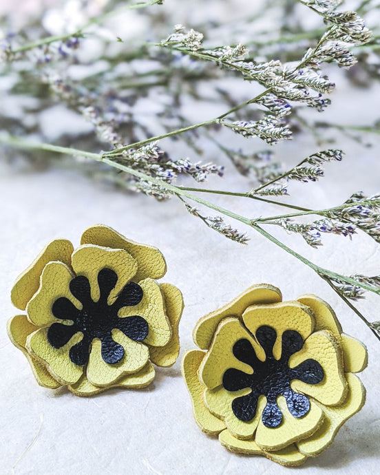 Yellow poppies flower stud earrings