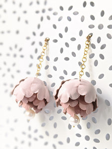 Pink peonies leather flower earrings with fresh water pearl dangle