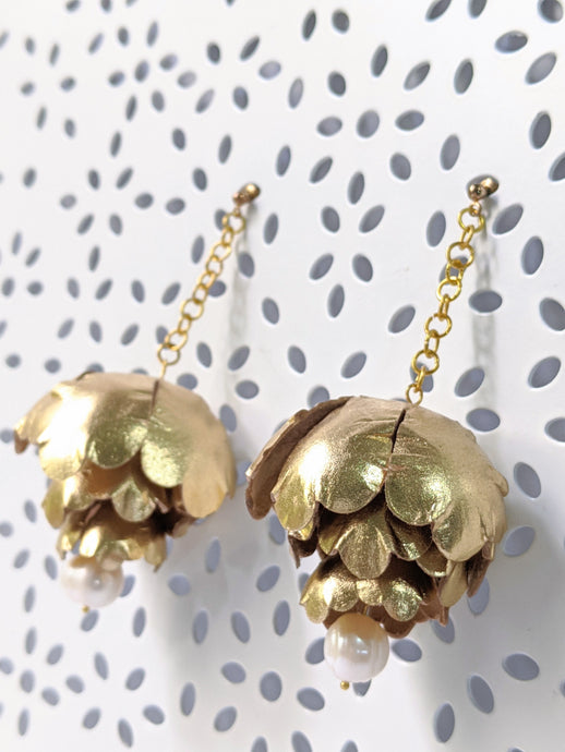 Gold peonies leather flower earrings with fresh water pearl dangle