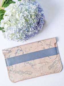Leather clutch with ash blue belt
