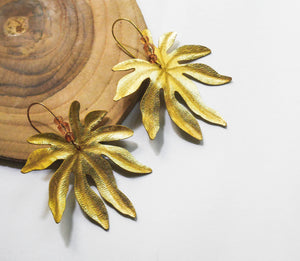 Aralia leaf earrings in gold leather