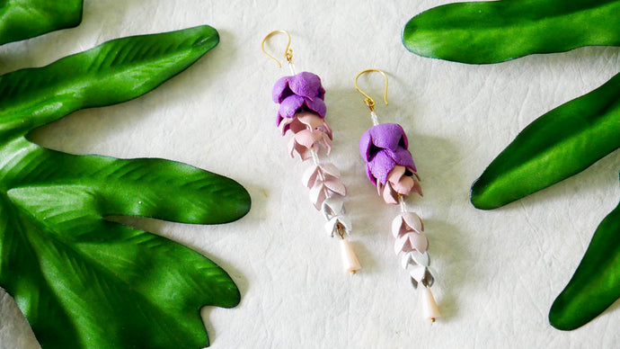 Wisteria earrings in purple colour leather flower