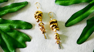 Wisteria earrings in gold colour leather flower