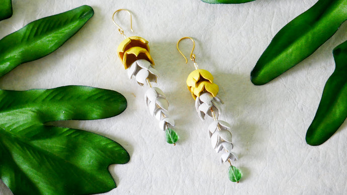 Wisteria earrings in yellow colour leather flower
