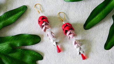 Wisteria  earrings in red colour leather flower