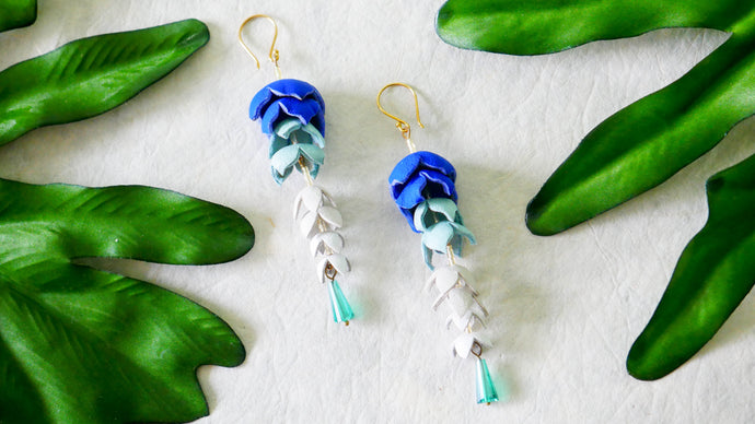Wisteria earrings in blue colour leather flower