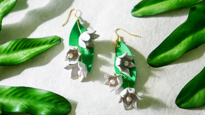 Lilies of the valley leather earrings