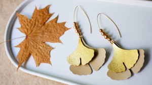 Ginko Leaf in Gold leather