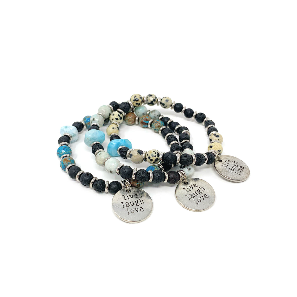 Live Laugh Love Charm Stretch Bracelet