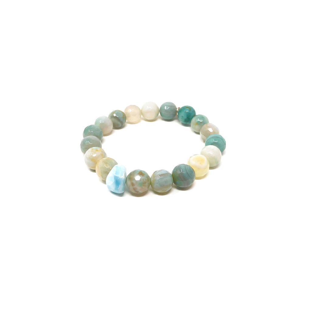 Hope Ocean Teal Banded Agate Stretch Bracelet