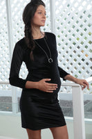 Midnight Velvet Pregnancy Dress - Black