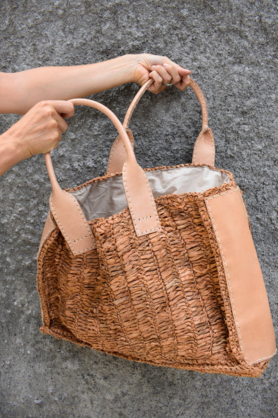 Leather & Seagrass Tote Bag