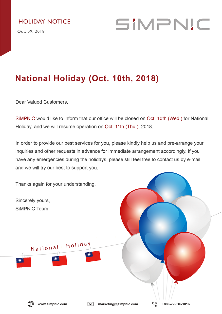 Holiday Notice: National Holiday (Oct  10th, 2018) – SiMPNiC