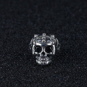 Real 925 Sterling Silver Ring Skull Cross Punk Zircon Open Size 8 9 10 11 12