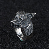 Real 925 Sterling Silver Ring Dragon's Head Open Size 8 9 10 11 12