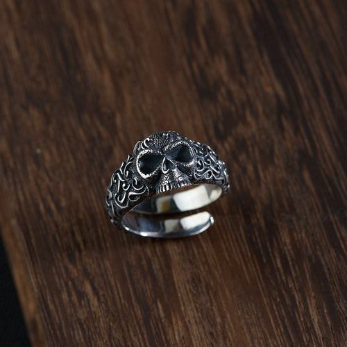 Real 925 Sterling Silver Ring Skull Adjustable Size 8 9 10 11 12