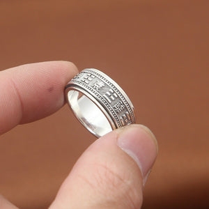Real 925 Sterling Silver Ring the-Eight-Diagrams Taoists Rotation Size 7 to 11