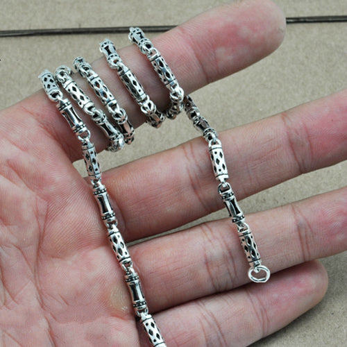 Real 925 Sterling Silver Necklace Cylinder Geometry Hollow Link Chain Men's 18