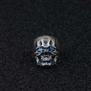 Real 925 Sterling Silver Ring Skull Zircon Inlay Open Size 8 9 10 11 12