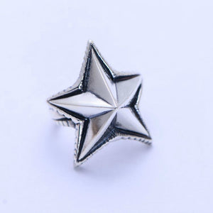 Real 925 Sterling Silver Ring Pentagram Five-pointed Star Size 8 9 10 11