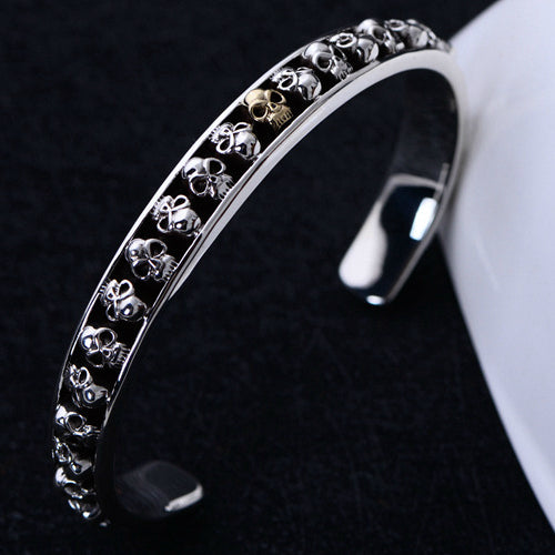 Real Solid 925 Sterling Silver Cuff Bracelet Skulls Jewelry