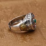 925 Sterling Silver Ring Tai Chi Eight Diagrams Rotation Turquoise Size 8 to 11